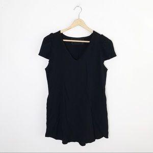 Reformation Solid Black V-Neck Mini Dress XS/S